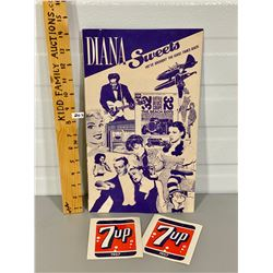DIANA SWEETS AD BOARD & 7UP DECALS