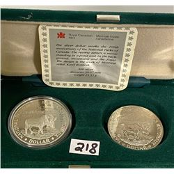 LOT OF 2 COMMEMORATIVE CND SILVER DOLLARS W/ PROOF