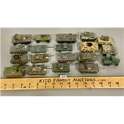 LOT OF 19 TOY ARMY VEHICLES - METAL & PLASTIC