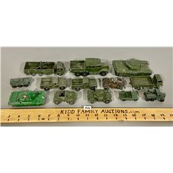 LOT OF 13 DIE CAST ARMY VEHICLES - DINKY, LESNEY, ETC