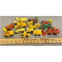 LOT OF 16 TOY CONSTRUCTION VEHICLES - DINKY, LESNEY, MATCHBOX