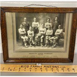 1923 - 1924 FRAMED PHOTO - BROOKLYN JUNIOR BASKETBALL CHAMPS