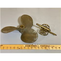 BRASS BOAT PROPELLER AND DECORATIVE CANNON