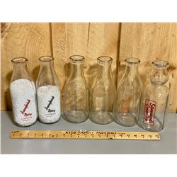 LOT OF 6 DAIRY BOTTLES