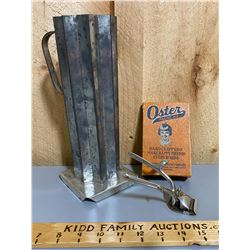 LOT OF 2 - VINTAGE OSTER CLIPPERS W/ ORIG BOX & TIN CANDLE MOLD