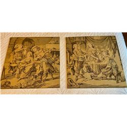 "PAIR OF ANTIQUE TAPESTRIES  - 18"" SQ"
