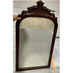 "ANTIQUE WALNUT FINISH HALL MIRROR - 27"" X 39"""