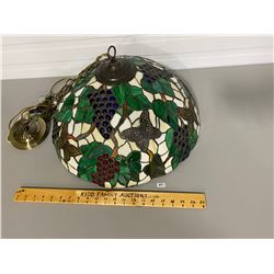"STAINED GLASS CEILING HUNG LIGHT FIXTURE - APPROX 22"" DIAMETER"