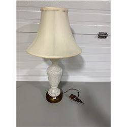 VINTAGE OPALESCENT LAMP & SHADE - 26""