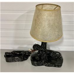 ART DECO STYLE BLACK PANTHER LAMP & PLANTER