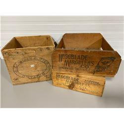LOT OF 3 CRATES - BUTTER BOX, 2 X HEGGBLADE-MARGULEAS