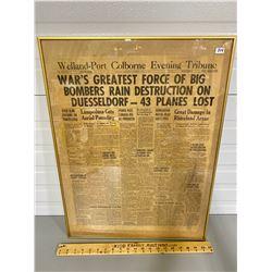 FRAMED 1943 EDITION OF WELLAND - PORT COLBORNE EVENING TRIBUNE NEWSPAPER