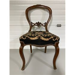 ANTIQUE BOW BACK SIDE CHAIR W/ TAPESTRY SEAT