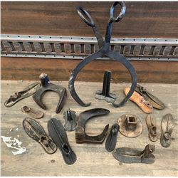 COLLECTION OF ANTIQUE CAST ITEMS - SHOE LASTS, ICE TONGS, ETC