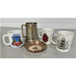 LOT OF 4 - MILITARY / RCMP COLLECTIBLE MUGS & ASHTRAY