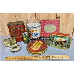 LOT OF 9 COLLECTIBLE TINS
