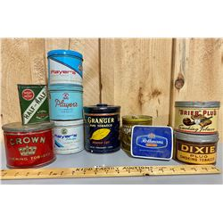 LOT OF 10 TOBACCO TINS - CROWN, PLAYERS, GRANGER, ROTHMANS, ETC