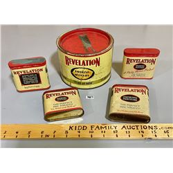 LOT OF 5 - REVELATION TOBACCO TINS