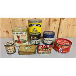LOT OF 9 - MISC TOBACCO TINS