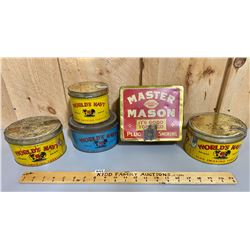 LOT OF 5 - WORLD'S NAVY TOBACCO TINS (QUEBEC)