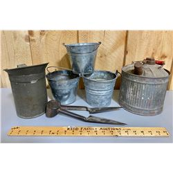 MISC LOT OF TIN - PAILS, FUEL, BRITISH SHEERS, ETC