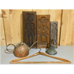 LOT OF COLLECTIBLES - COPPER KETTLE, GINGERBREAD MOLDS, BRASS BELL, WOOD HANGER.