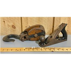 LOT OF 2 - ANVIL PULLEY & STANLEY WOOD PLANE
