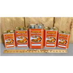 LOT OF 5 CANADIAN MAPLE SYRUP TINS - AS NEW