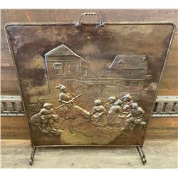 ANTIQUE BRASS EMBOSSED FIREPLACE SCREEN