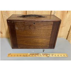 WOODEN MACHINEST CHEST WITH KEY