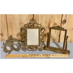 LOT OF 3 - ANTIQUE GILT DRESSER STYLE PICTURE FRAMES