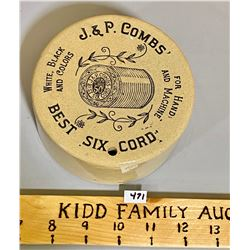 J & P COMBS CORD HOLDER - CERAMIC W/ GOOD GRAPHICS