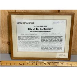 FRAMED CITY OF BERLIN LOAN BOND
