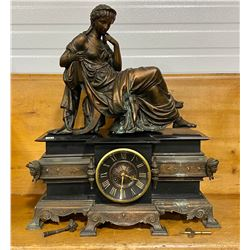BRONZE & MARBLE MANTLE CLOCK - BLOT & L'BOUARD - PARIS