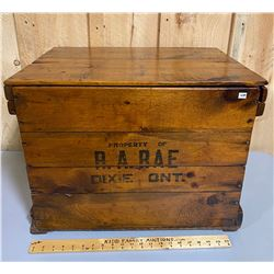 R.A. RAE DIXIE ONT REFINISHED WOODEN BOX