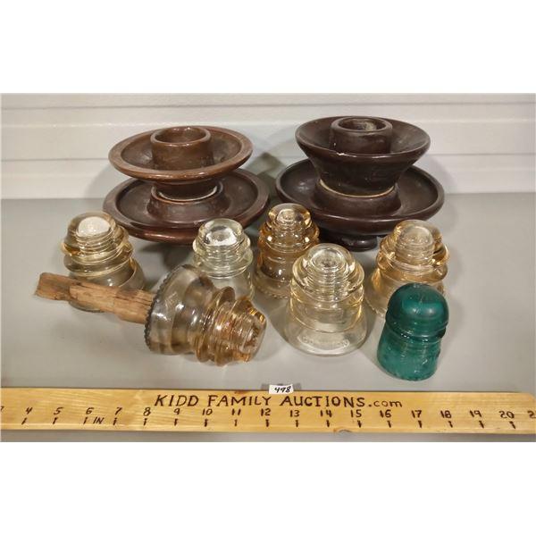 LOT OF 9 ANTIQUE INSULATORS - CERAMIC & GLASS