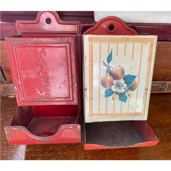 LOT OF 2 ANTIQUE TIN WALL HANGING MATCH HOLDERS
