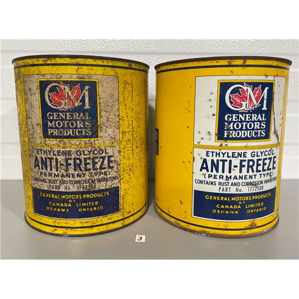 LOT OF 2 GM 1 GALLON ANTI-FREEZE CANS