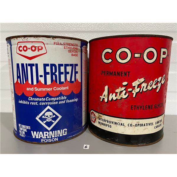 LOT OF 2 CO-OP 1 GALLON ANTI-FREEZE CANS