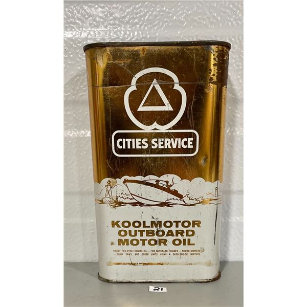 CITIES SERVICE 1 QUART OUTBOARD MOTOR OIL CAN