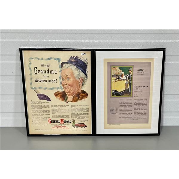 LOT OF 2 FRAMED VINTAGE AUTOMOTIVE ADS