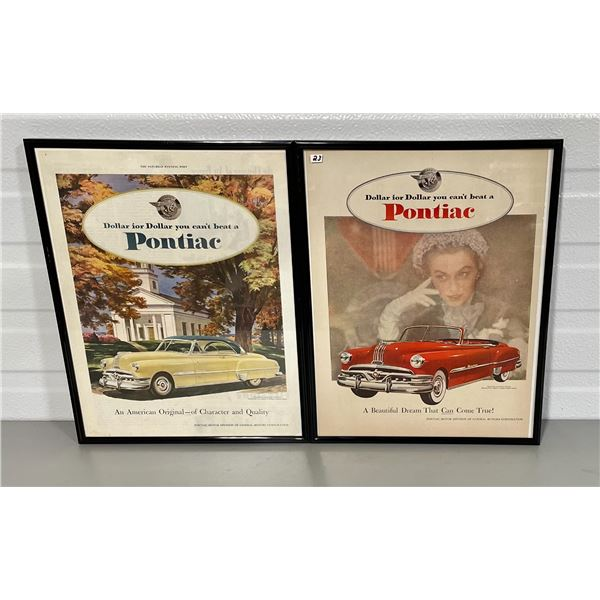 LOT OF 2 FRAMED VINTAGE PONTIAC ADS
