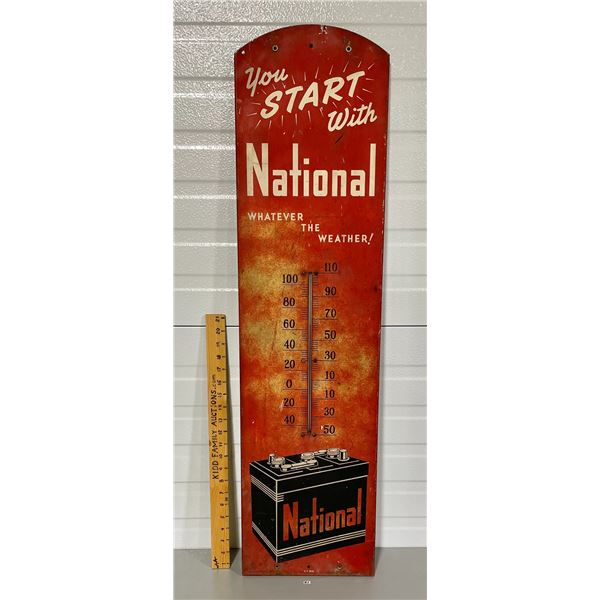 NATIONAL BATTERIES TIN THERMOMETER