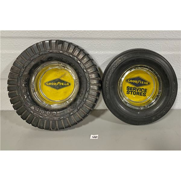 LOT OF 2 GOODYEAR TIRE ASHTRAYS
