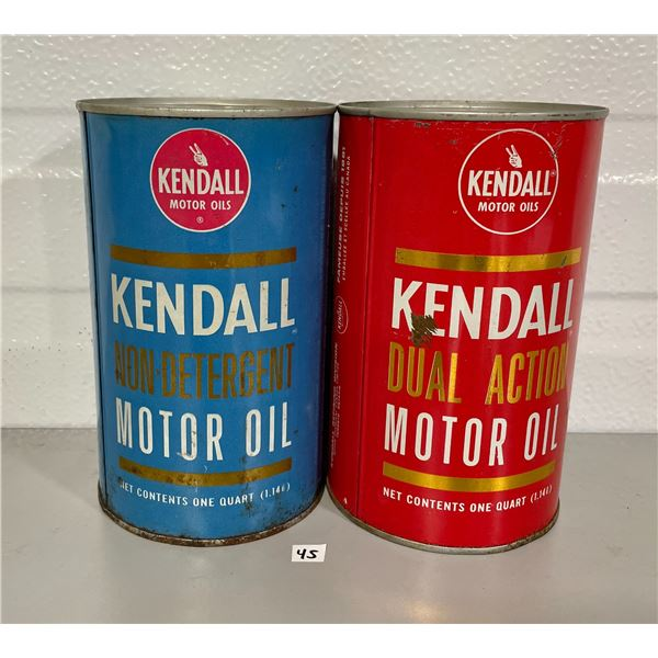 LOT OF 2 KENDALL MOTOR OIL QUART CANS
