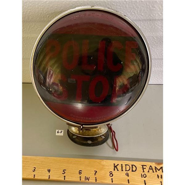 """VINTAGE 'POLICE STOP' LIGHT, 7"""" DIA. AND SIREN, SEE BOTH PICTURES"""