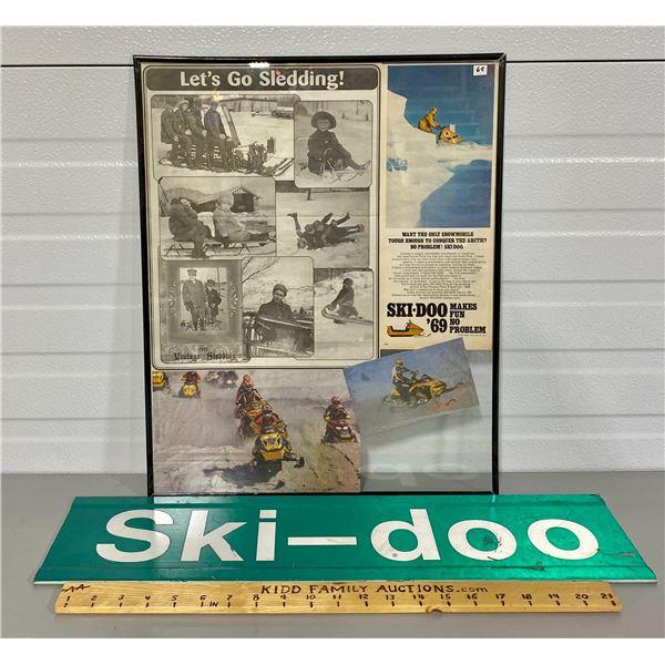 SKI-DOO ROAD SIGN & VINTAGE POSTER