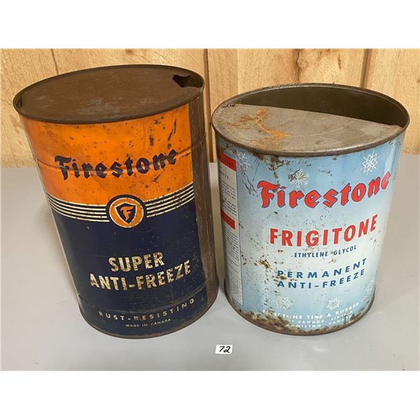 PAIR OF FIRESTONE 1 GALLON ANTI-FREEZE CANS