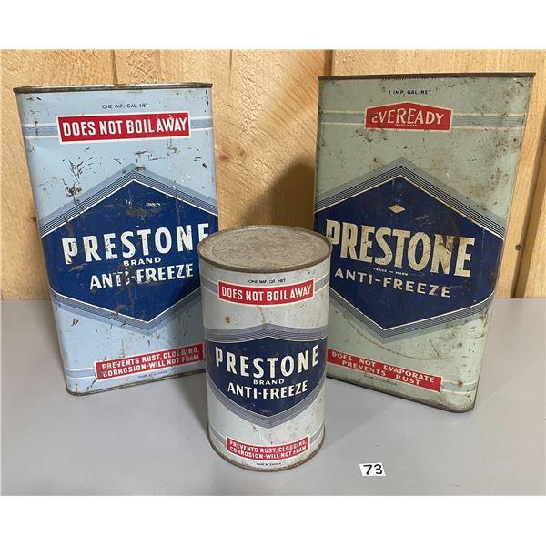 LOT OF 3 PRESTONE ANTI-FREEZE CANS