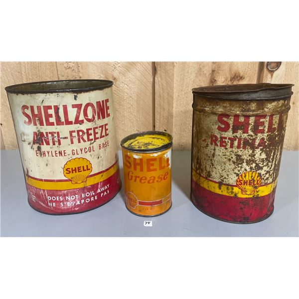LOT OF 3 SHELL CANS